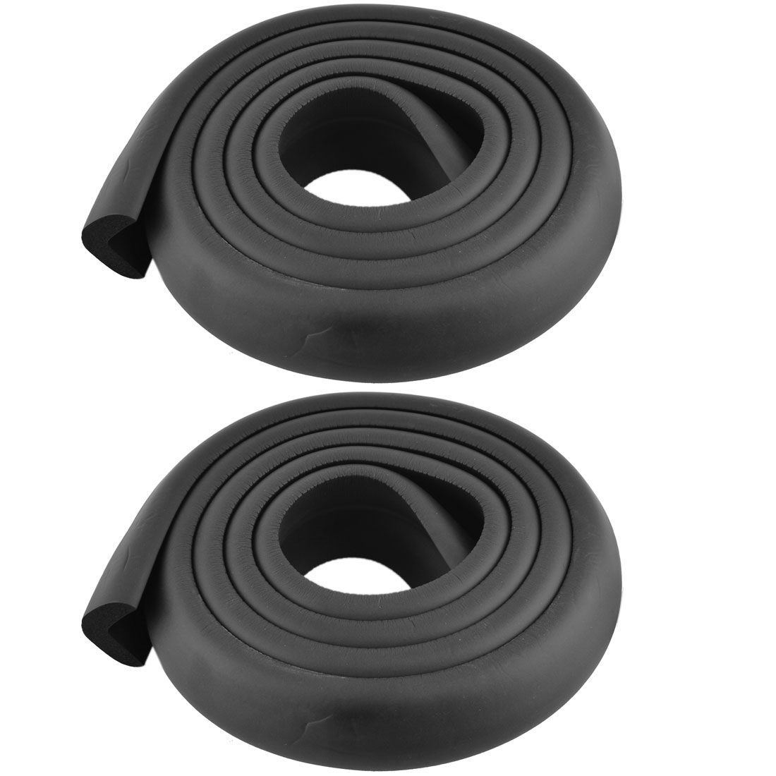 Furniture Dresser Foam Rubber Corner Edge Cover Protector Cushion Black 2pcs