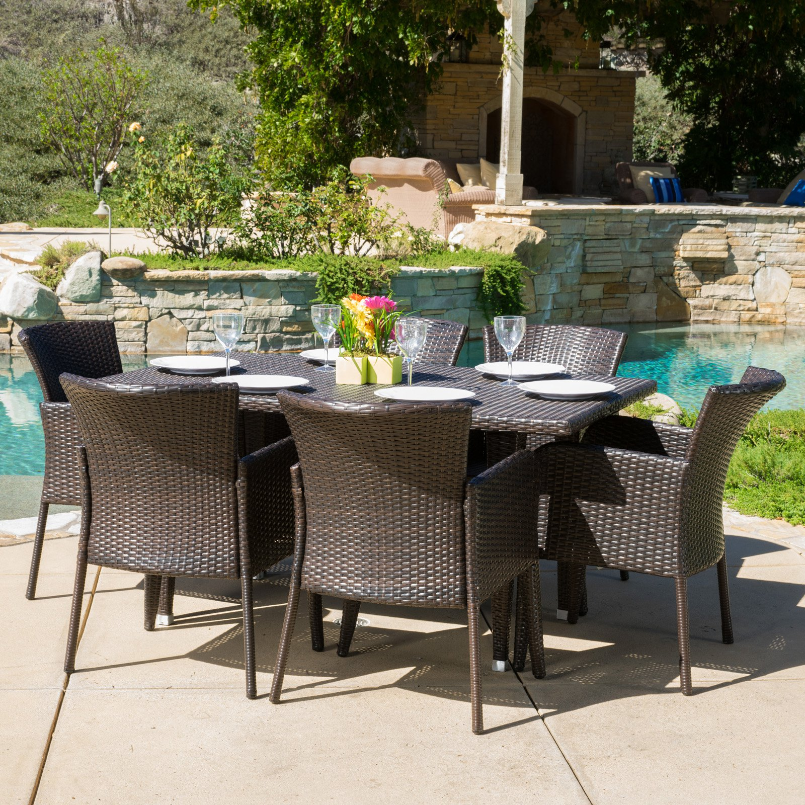 Best Selling Home Decor Rio De Janeiro Wicker 7 Piece Rectangular Patio Dining Set