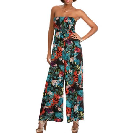 34ede9c40b ONLINE - Miss Tina Women's Smocked Wide-Leg Jumpsuit - Walmart.com