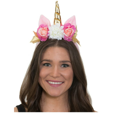 White Mystical Magical Unicorn Horn Headband With Flowers Costume Accessory (Costume Horn)