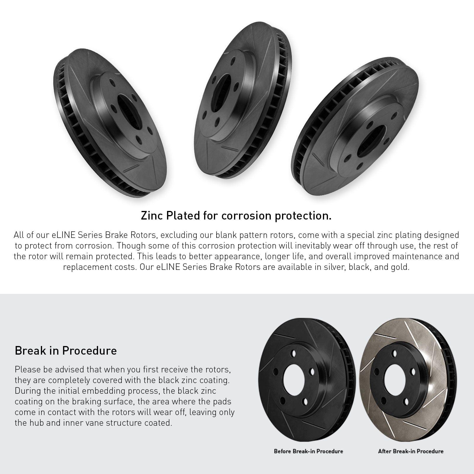 COMPLETE KIT Black Slotted Brake Rotors /& Ceramic Brake Pads CBS.4409202
