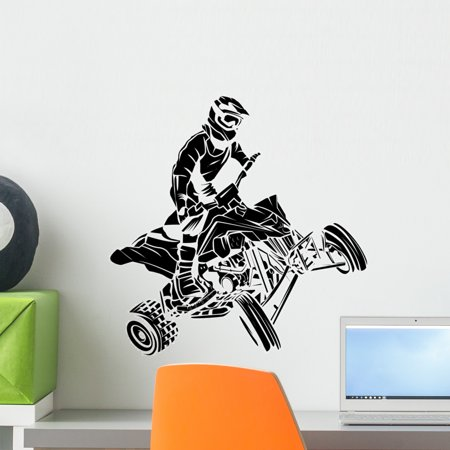 Atv Moto Rider Wall Decal by Wallmonkeys Peel and Stick Graphic (18 in H x 18 in W) WM223668 (Rider Decal)