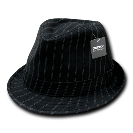 DECKY Double Pinstripe Black White Fedora Fedoras Hat Hats For Men Women Black/Black