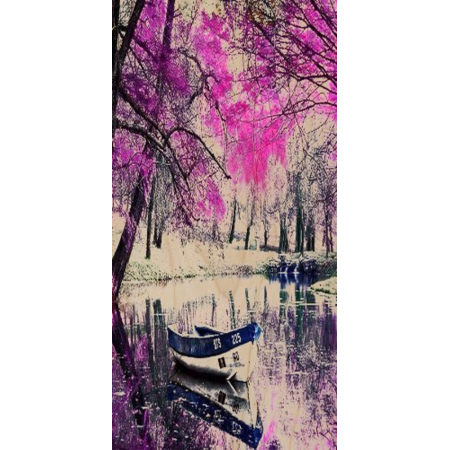 Forest Scenery w/ Row Boats in Small Creek River - Plywood Wood Print Poster Wall Art