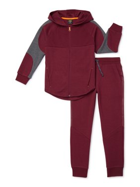 Athletic Works Boys Full Zip Hoodie and Sweatpants Performance Set, 2-Piece, Sizes 4-18 & Husky