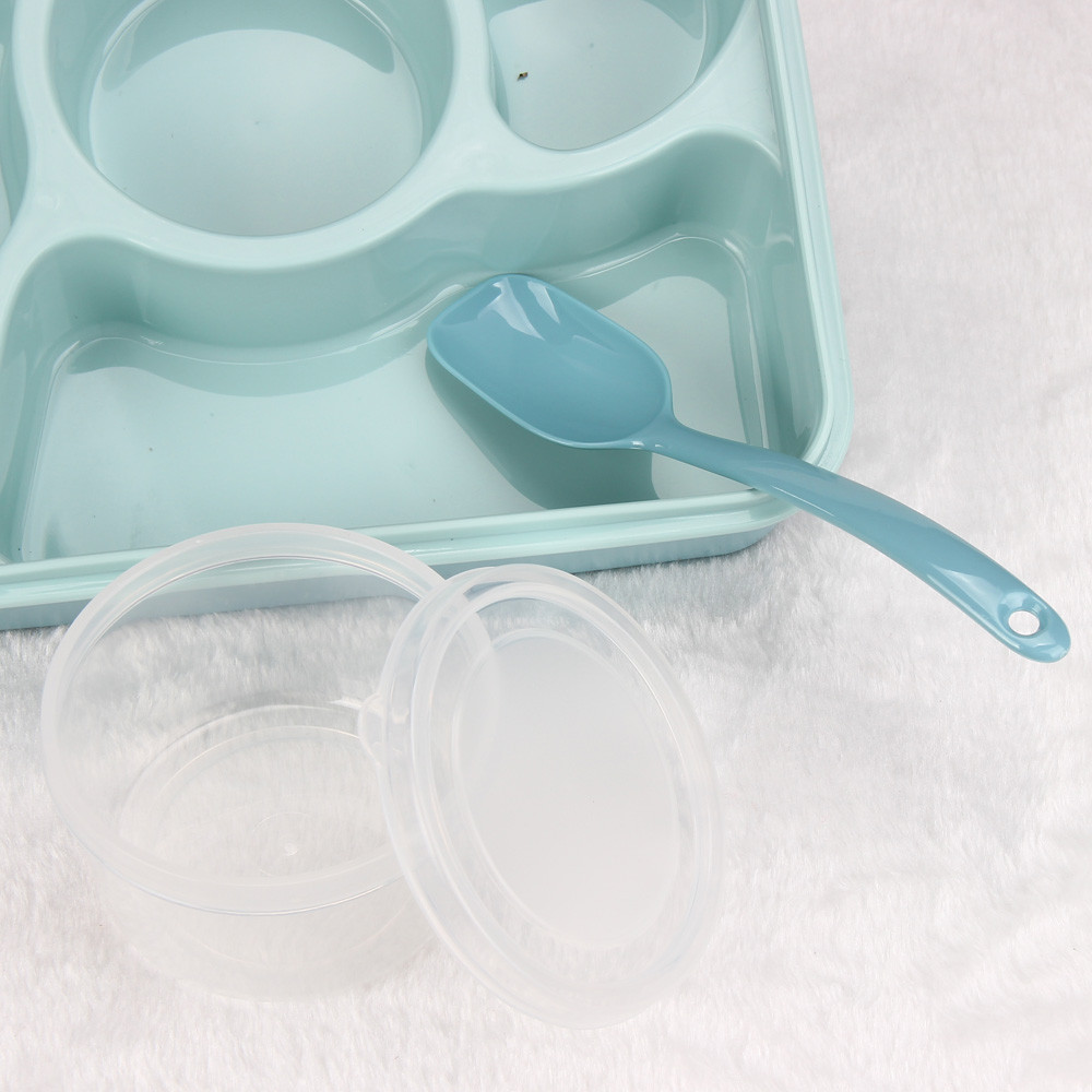 Microwave Bento Lunch Box Spoon Utensils Picnic Food Container Storage Box Blue