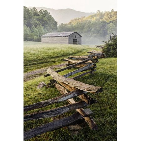 Pioneer's Barn, Split Rail Fence, Cades Cove, Great Smoky Mountains National Park, Tennessee, USA Print Wall (Names Of All National Parks In Usa)