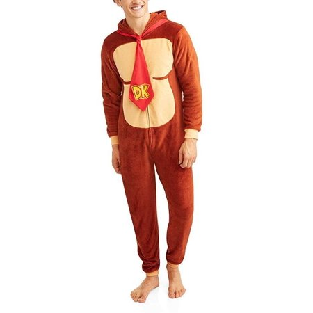 Nintendo Mario Yoshi Faux Zelda Donkey Kong Union Suit Pajama Costume, Donkey Kong, Size: L/XL - Mario Bros Toad Halloween Costumes