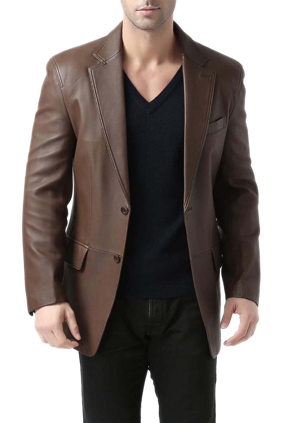 "Men's ""Grant"" Two-Button New Zealand Lambskin Leather Blazer"