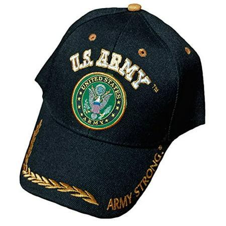 b31dc543966 Army Black Baseball Cap US Veteran V American Flag USA Hat United States ( Army Black Cap Wreath Logo)