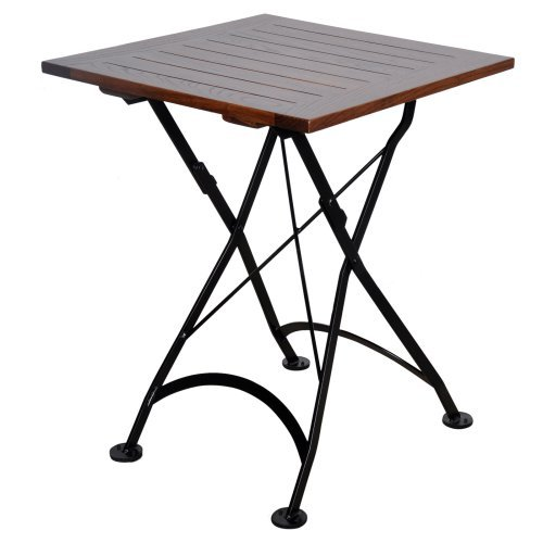 Furniture Designhouse French Veranda European Cafe 24 in. Square Folding Patio Dining Table with European Chestnut Wood Slats