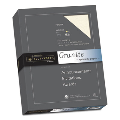 Granite Specialty Paper, Ivory, 32lb, 8 1/2 x 11, 25% Cotton, 250 Sheets, Sold as 1 Box, 250 Sheet per Box