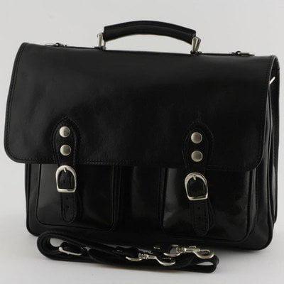 Alberto Bellucci Mens Italian Leather Parma Express Messenger Laptop Satchel Bag in Black