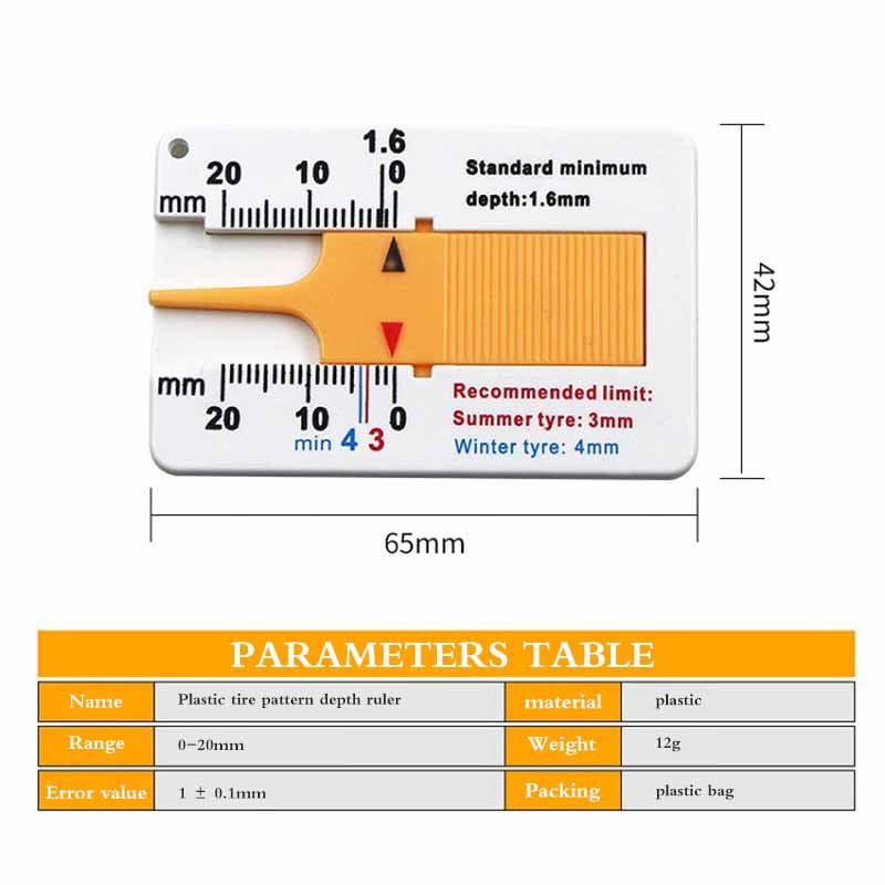 Car Tyre Depth Test Gauge Meter Callipers Car Wheel Depth Measure Tool 0-20mm