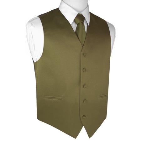Valentine Handkerchief - Italian Design, Men's Tuxedo Vest, Tie & Hankie Set - Olive