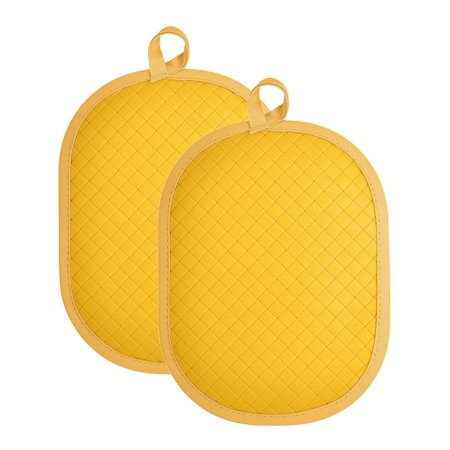 Rachael Ray Silicone Potholder/Trivet with Silicone Grip, Use as a Potholder to Protect Yourself or a Trivet to Protect Your Countertops, protects up to 500 degrees F- Yellow (2pk) Dishwasher Safe Silicone Trivet