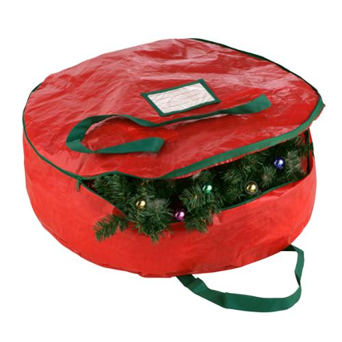 "Elf Stor Premium Red Holiday Christmas Wreath Storage Bag For 24"" Inch Wreaths"