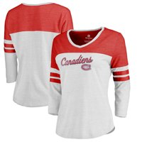 Montreal Canadiens Fanatics Branded Women's Timeless Collection Rising Script Plus Color Block 3/4 Sleeve Tri-Blend