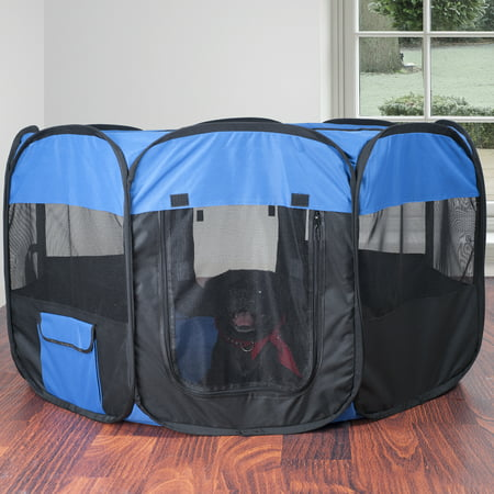 "Pop-Up Playpen - 42"" x 25"" Portable Octagon Exercise Enclosure with Zipper Top for Cats, Kittens, Dogs, Puppies and Rabbits by PETMAKER (Blue/Black)"
