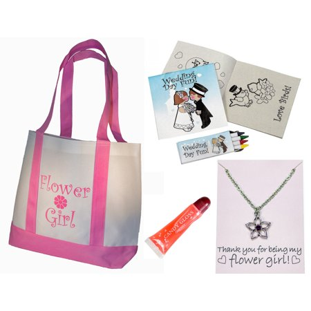 Best Flower Girl Gifts Set: Tote Bag, Metal Necklace, Lip Gloss, Wedding Day Kids Activity