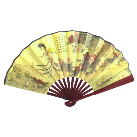 Unique Bargains Red Bamboo Handle Yellow Fabric Flower Chinese Poem Print Folding Hand Fan](Folding Hand Fan)