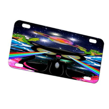 Kuzmark Automobile Car Tag License Plate Kitty Cat Rainbow Laser Eyes
