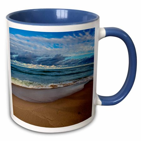 3dRose Clouds at sunrise over Lake Michigan in Manistee, Michigan, USA - Two Tone Blue Mug, 11-ounce