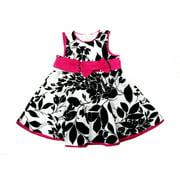 White Black Leaves Sleeveless Cotton Dress Infant Girl S