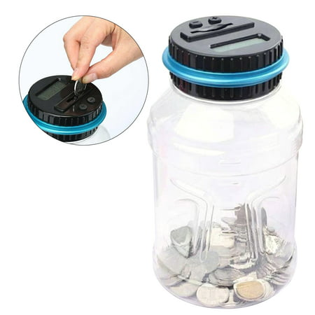 - Digital Coin Bank Savings Jar Automatic Coin Counter Piggy Bank Large Capacity Money Saving Box with LCD Display