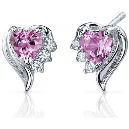 Pink Sapphire Single (1.50 Carat T.G.W. Heart-Shape Pink Sapphire Cubic Zirconia Rhodium over Sterling Silver Stud Earrings )