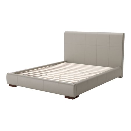 Modern Contemporary Queen Side Platform Bed Frame, Grey Gray, Faux Leather -