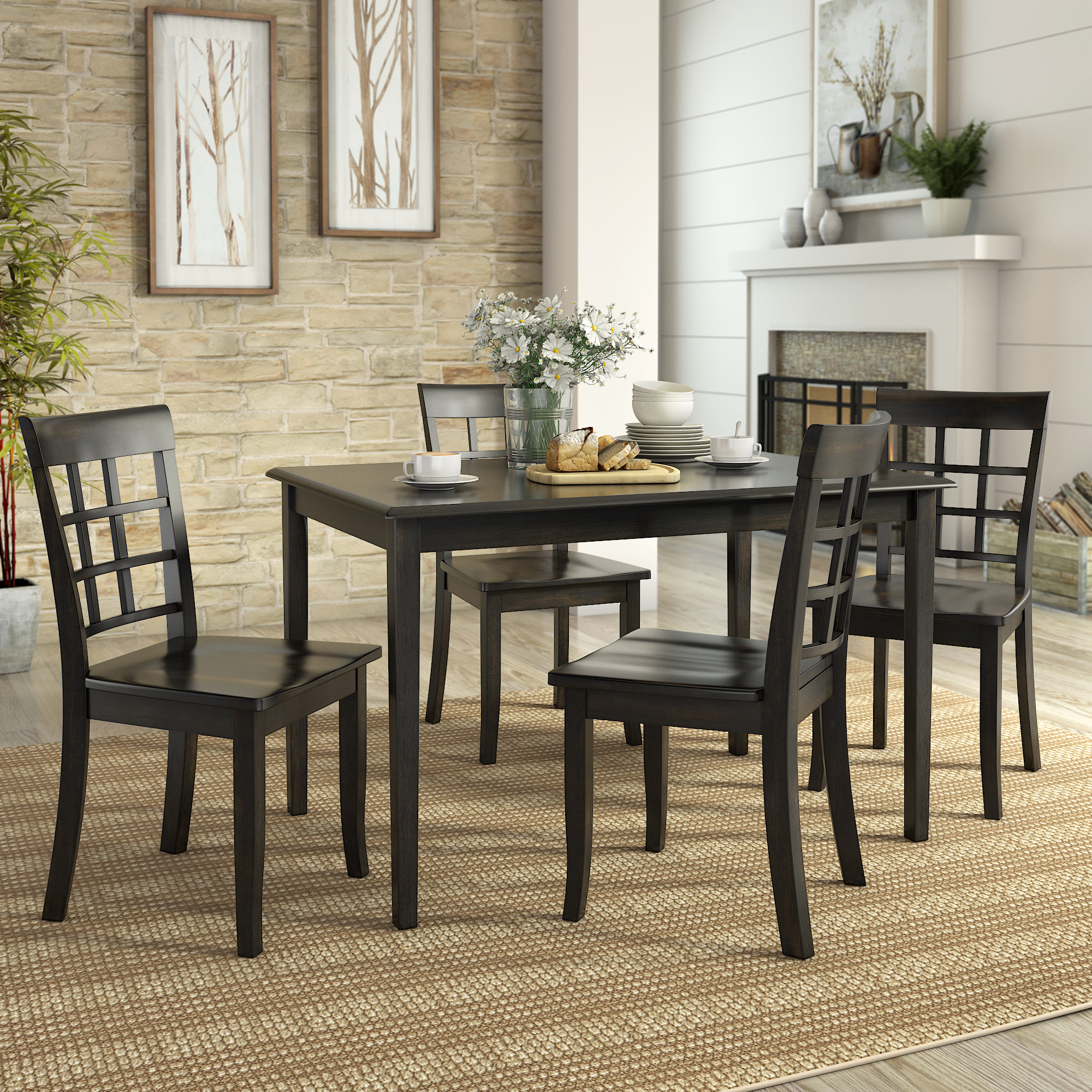 Click here to buy Lexington 5-Piece Dining Room Set with 4 Window Back Chairs by Weston Home.