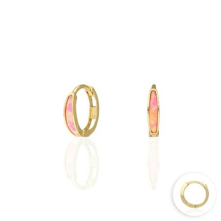 14k Yellow Gold Multicolor Fire Opal Huggie Hoop Earrings 0.4