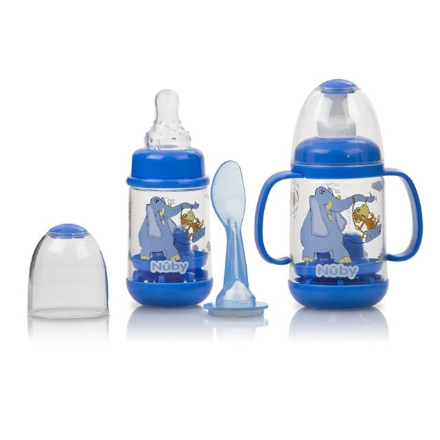 Nuby Infant Printed Bottle Feeder Set - Blue