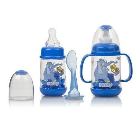 Nuby Infant Printed Bottle Feeder Set Blue Walmart Com