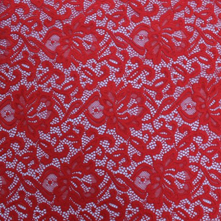 Red Rebecca Pattern Stretch Nylon Spandex Scallop Lace Fabric by the Yard