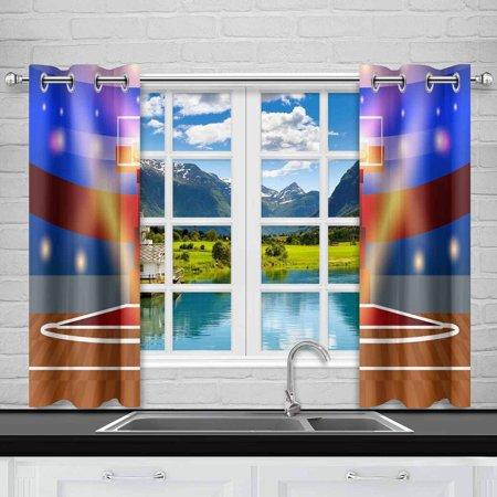 YUSDECOR Basketball Court Window Curtain Kitchen Curtains Window Treatments 26x39 inch,Set of 2 - image 1 de 2