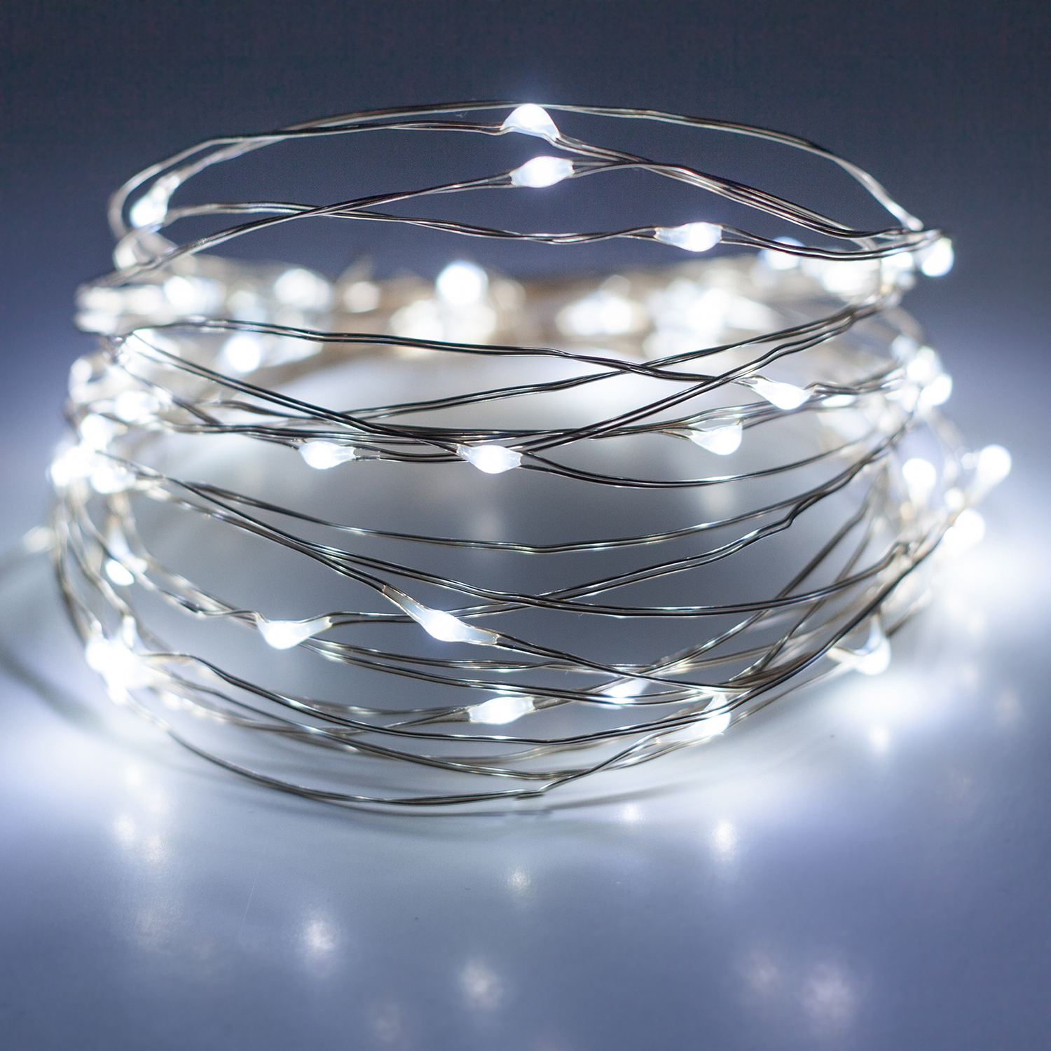 Copper Wire String Fairy Starry LED Lights, 2 Pack , Cool White, Silver-Plated Battery Operated Waterproof 6.5' ft