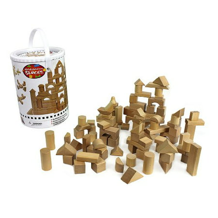 Colored Wooden Building Blocks (Wooden Blocks - 100 Pc Wood Building Block Set with Carrying Bag and Container (Natural Colored) - 100% Real Wood )