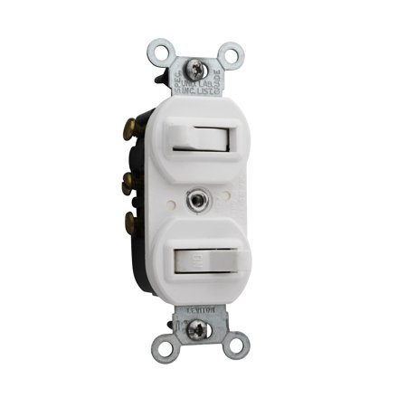 Leviton 5241-W 15 Amp, 120/277 Volt, Duplex Style Single-Pole/3-Way Ac Combination Switch, Commercial Grade, White