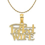 """14K Yellow Gold Perfect Wife Charm (13.9 mm x 16 mm) With 10K Yellow Gold Lightweight Rope Chain 16"""""""
