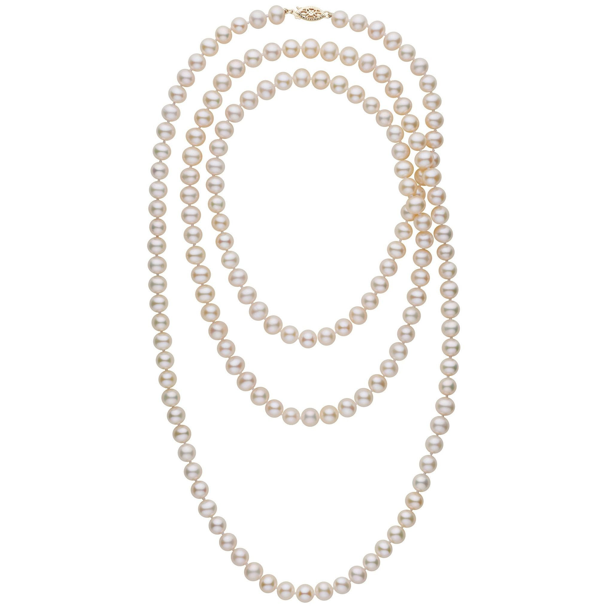 52-inch 7.5-8.0 mm AA+ White Freshwater Pearl Necklace by Pearl Paradise