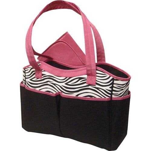 Baby Essentials Diaper Bag, Zebra Print with Pink Trim