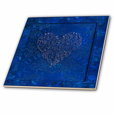 Blue Tile Design - 3dRose Silver Heart Design on Royal Blue - Ceramic Tile, 8-inch