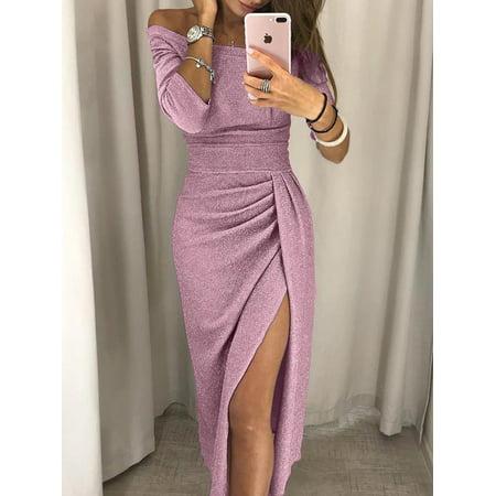 324dfedb87f Hirigin - Women Summer Boho Long Maxi Dress Cocktail Party Dress Beach  Dress Sundress Pink Size M - Walmart.com