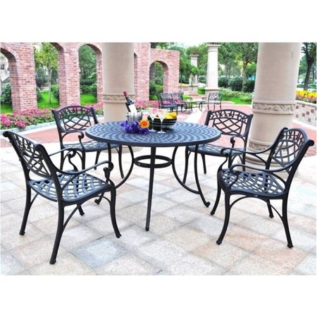 Bowery Hill 5 Piece Metal Patio Dining Set in Black ()