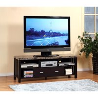 Deluxe Faux Marble Top TV Stand With 5 Open Shelves