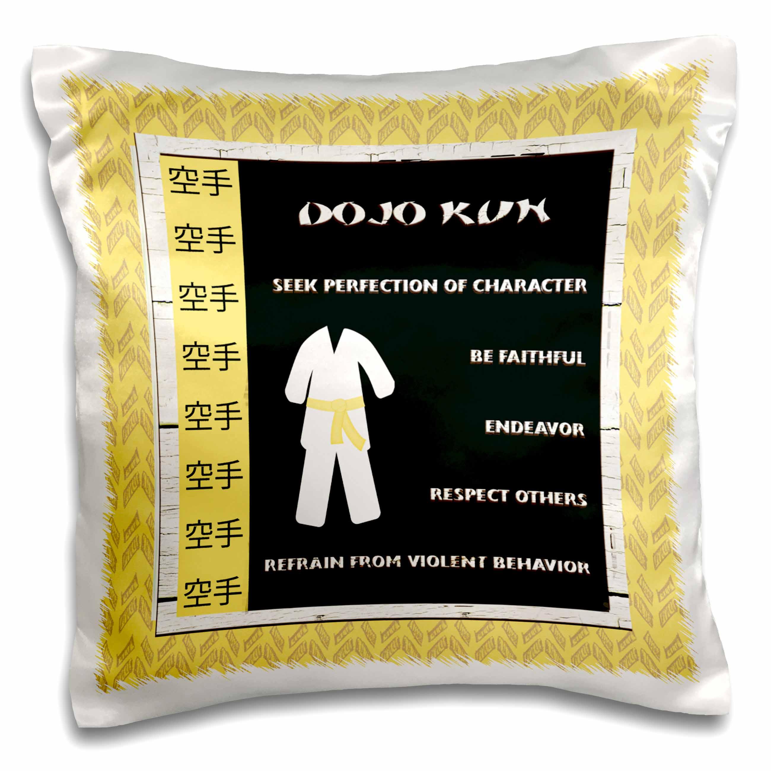 3dRose DoJo Kun, Japanese Martial Arts, Karate Rules, Yellow Belt, Pillow Case, 16 by 16-inch