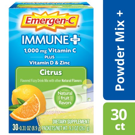 Activated Charcoal Dietary Supplement (Emergen-C Immune+ Vitamin C Drink Mix, Citrus, 1000mg, 30 Ct )