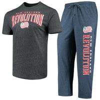 New England Revolution Concepts Sport Spar Pants & Top Sleep Set - Navy/Charcoal
